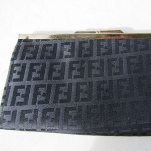 Vintage Black Fabric and Metal Clutch